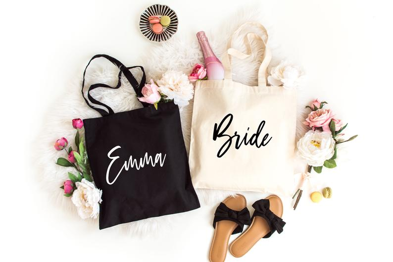 Personalized Tote Bags Set of 8 Bridesmaid tote bag
