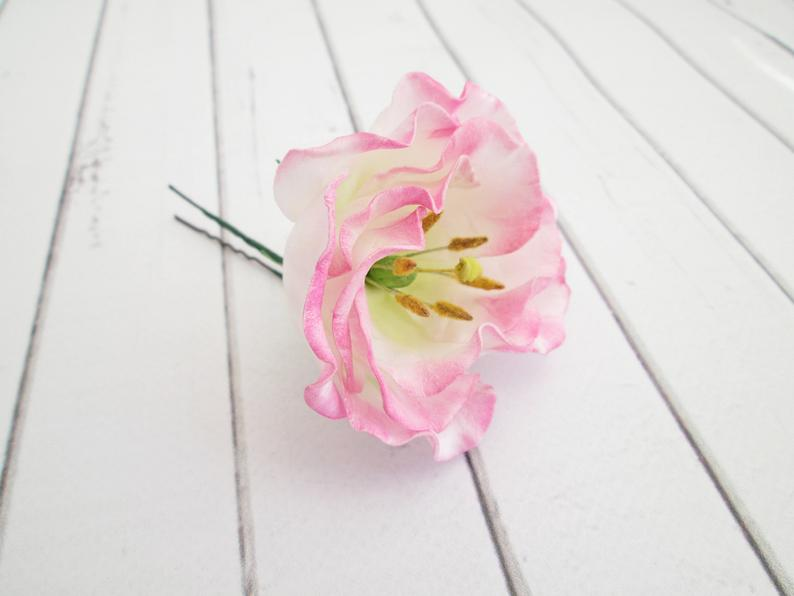Pink Lisianthus Flower Hair Pin  Eustoma Floral Hair