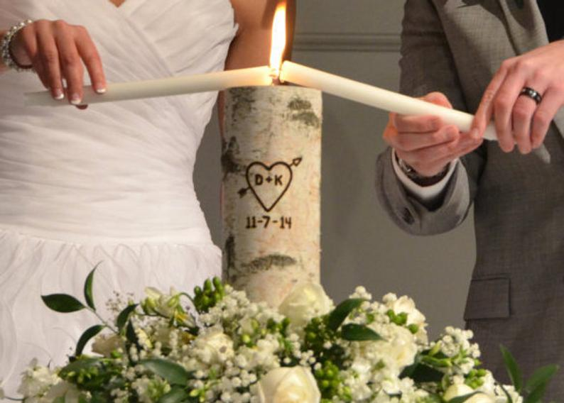 Rustic Unity Candle Monogram Ceremony Wedding Unity Candle
