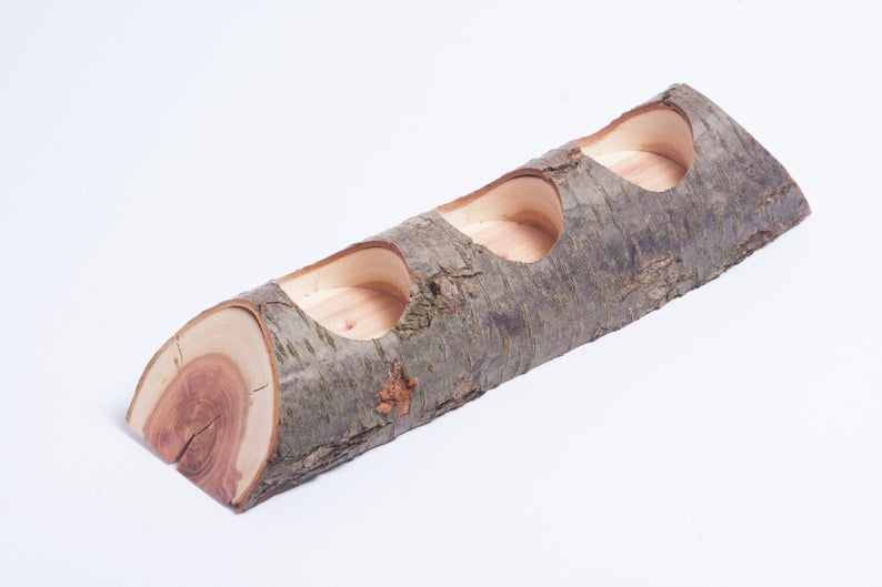 Rustic log candle holder tea light holder woodland wedding