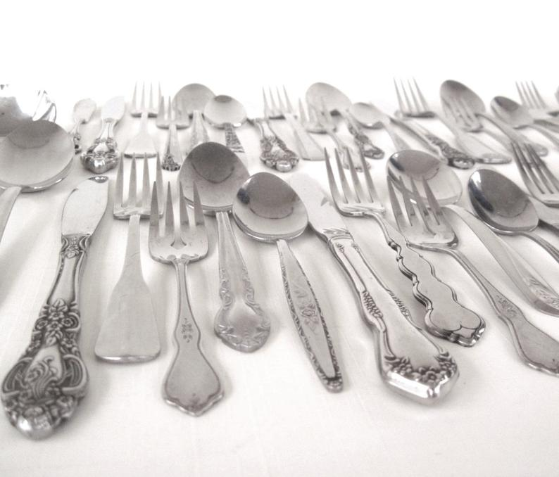 Stainless Silverware Set Mismatched Flatware Cottage Chic: