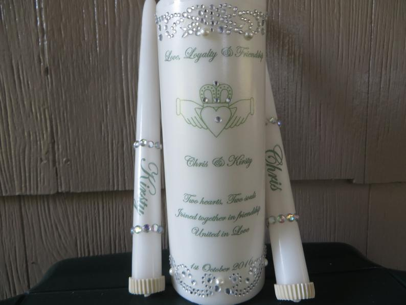 Three Piece Personalized Unity Candle set with Irish claddagh