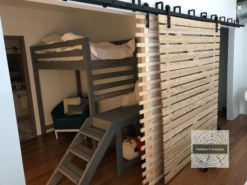Twin rustic chic loft bed WITH Stairs Kids loft bed  teen