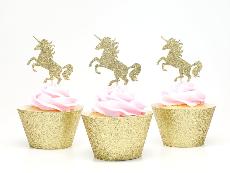 Unicorn Cupcake Toppers  Gold Glitter  First Birthday Decor.