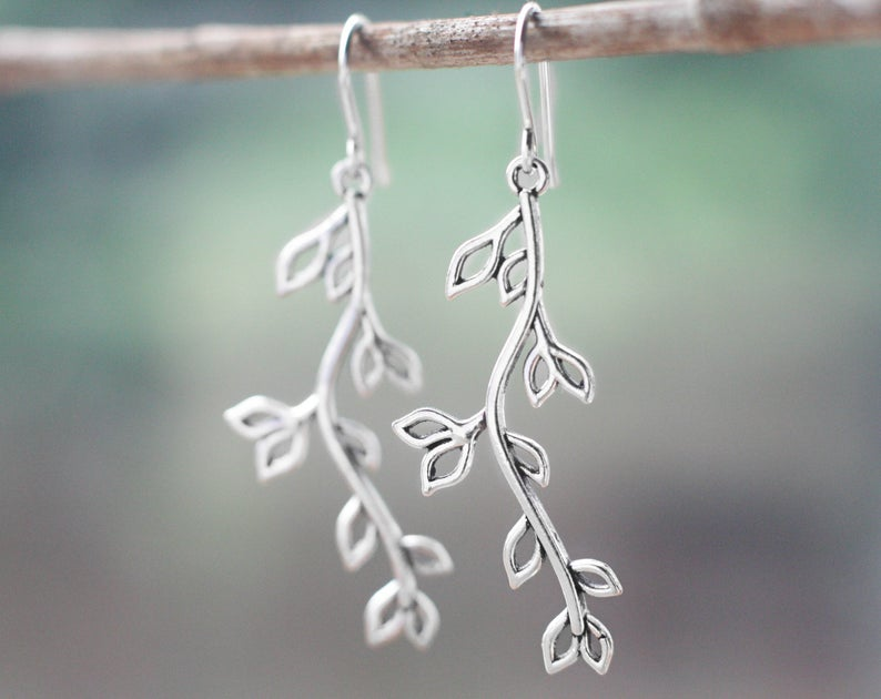 Antique Silver Willow Earrings Willow Charm Earrings Gift