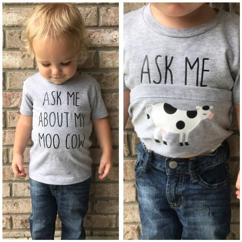Ask Me About My Moo Cow Shirt Funny Kids T-Shirt Moo Cow