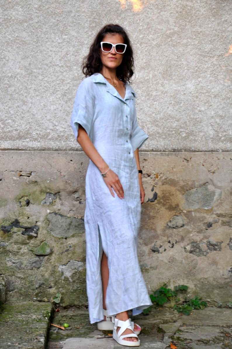 Blue Dress For Women Linen Dress Linen Shirt Dress Linen