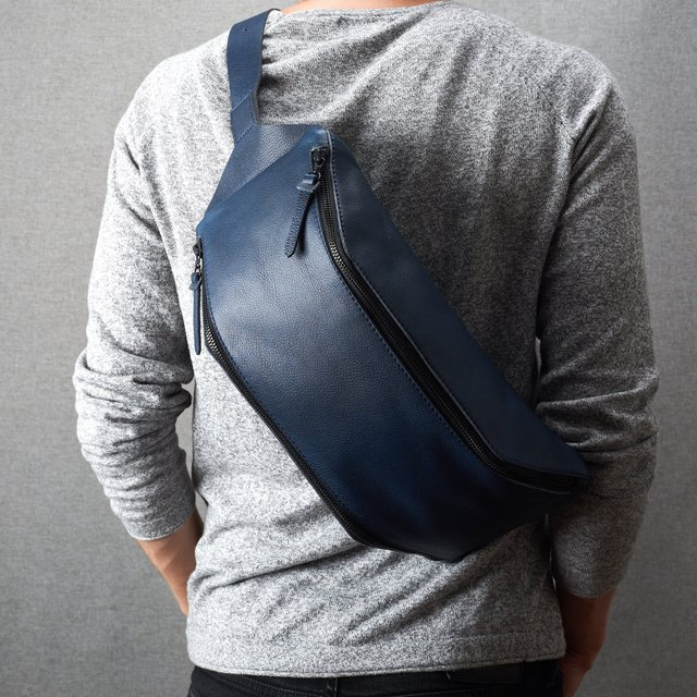 Blue Leather Fenek Sling Bag