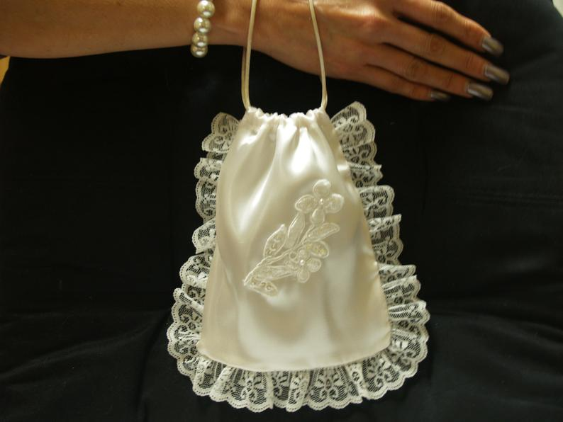 Bridal Money Bag Satin pull string bag Chantilly lace
