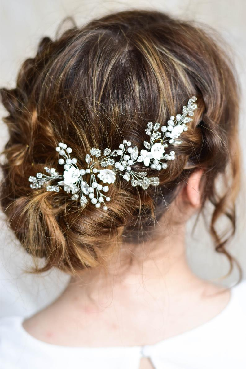 Bridal hairpiece Wedding headpiece Rhinestone hair piece