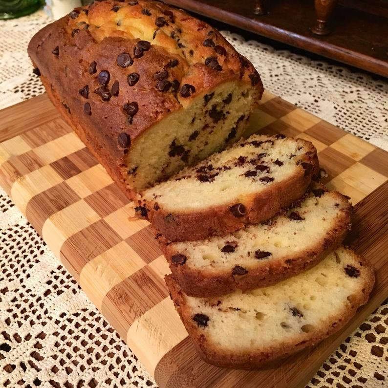 Chocolate chip pound cake loaf buttery and moist loaded with