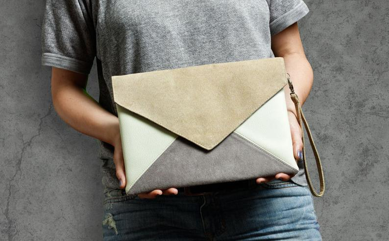 Clutch bag envelope beige gray ivory vegan leather bag faux