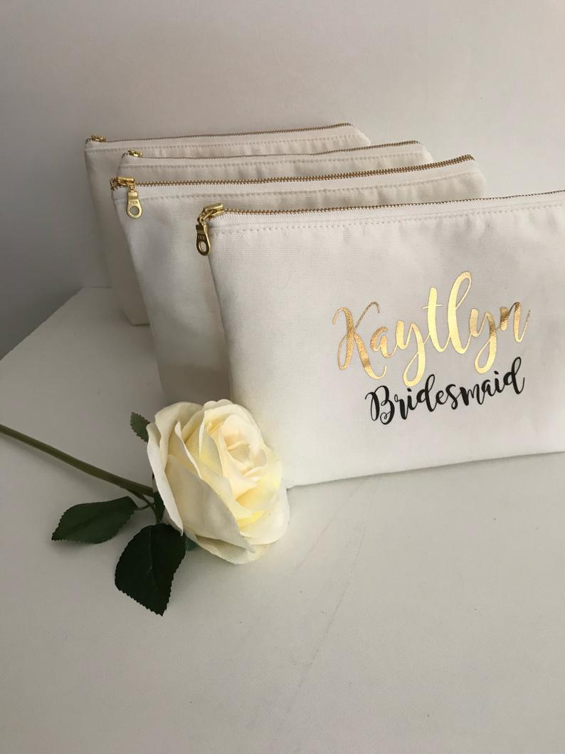 Cosmetic Bag Personalised  Bridesmaid Cosmetic Pouch