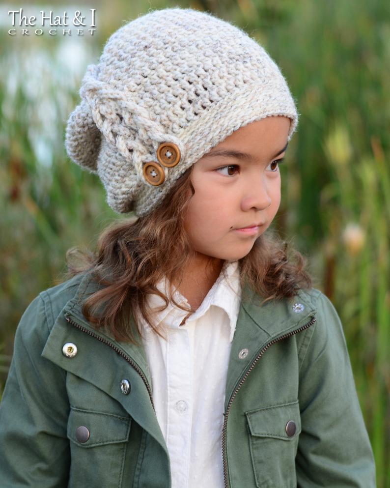 Crochet Hat PATTERN  Buttons & Braids Slouchy  crochet