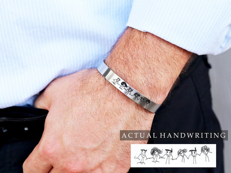 Custom Men's Cuff Bracelet / Actual Handwriting / Engraved
