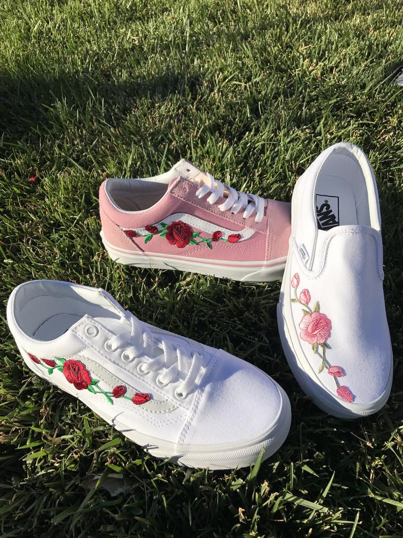 Custom Rose Embroidered Vans