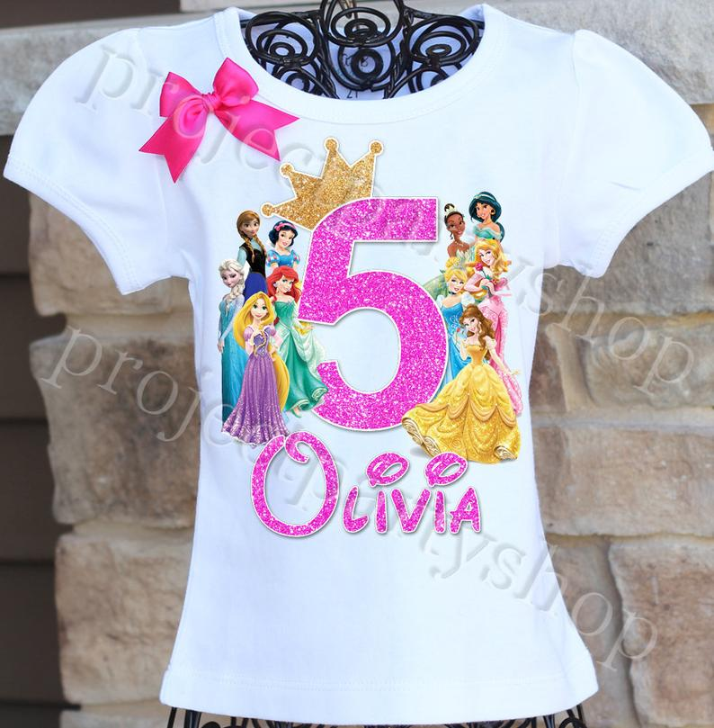 Disney Princesses Birthday Shirt Disney Princess Birthday