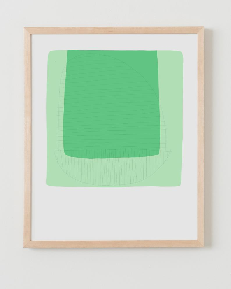 Fine Art Print.  Abstract Colorblock with Green March 11