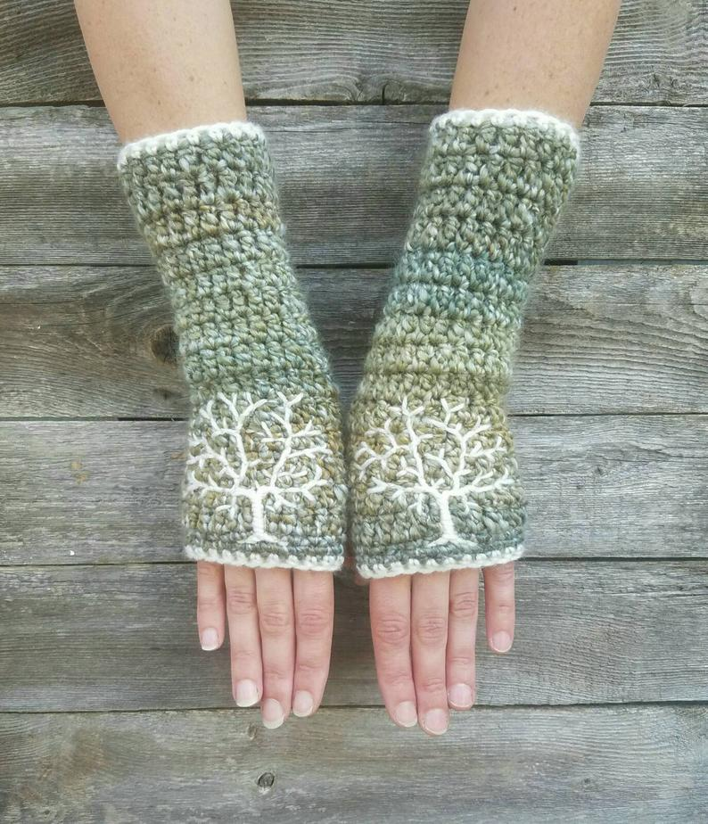Fingerless Gloves Womens Arm Warmers with Tree of Life