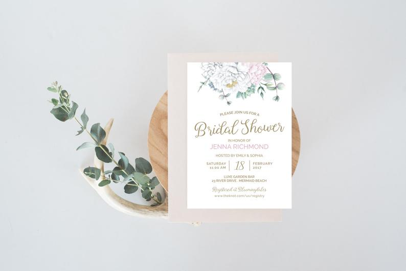 Floral Bridal Shower Invitation  White Peony Succulent