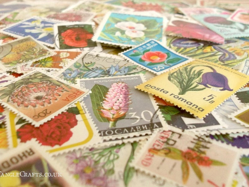 Flowers postage stamp packet  floral postal stamps mixture