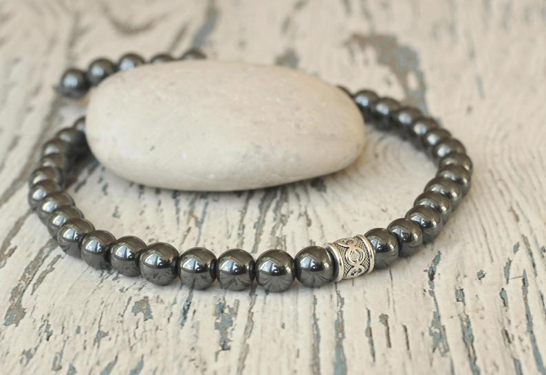 Hematite necklace for men gift idea beaded necklace grounding
