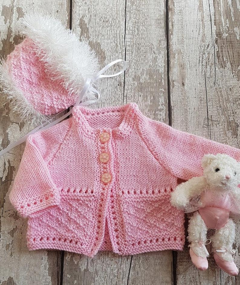 Knitted Baby Cardigan & Hat Girls Pink Sweater Set Handmade