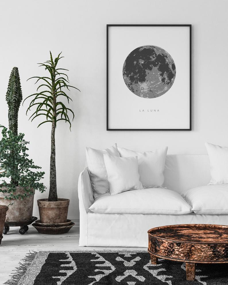 La Luna Print Extra Large Wall Art Full Moon Print La Luna