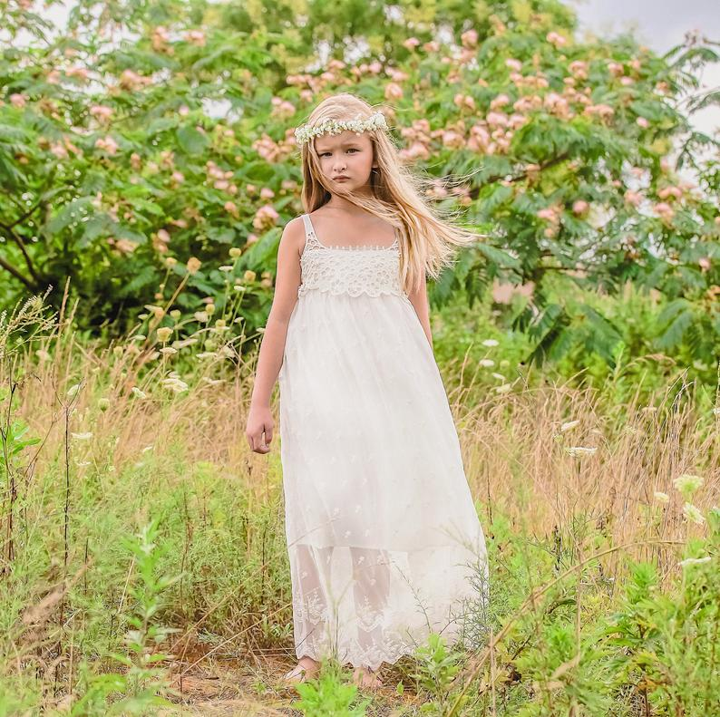 Lace Flower Girl Dress white flower girl dress girls lace