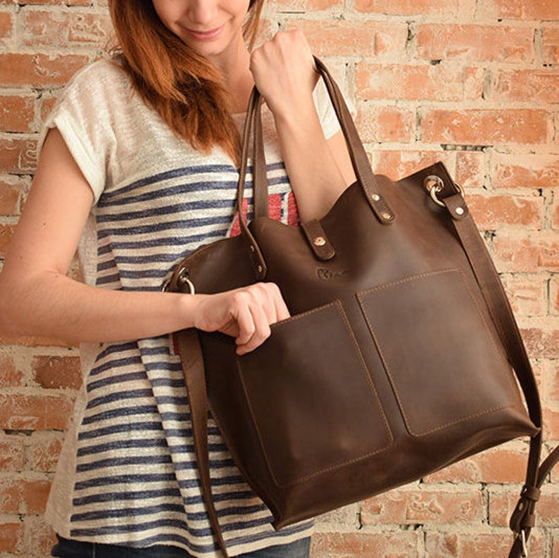 Large leather crossbody bags for women/Crossbody leather tote