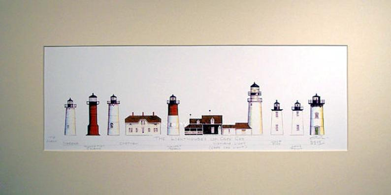Lighthouses of Cape Cod Beach Art Birthday Gift Matted