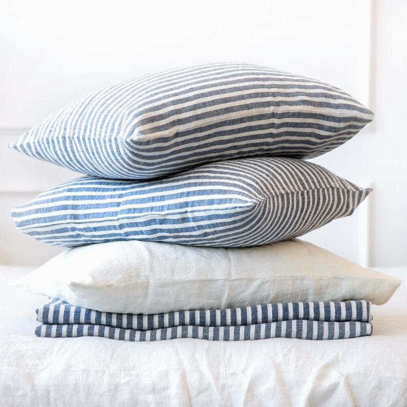 Linen pillowcase  housewife pillowcase blue striped washed