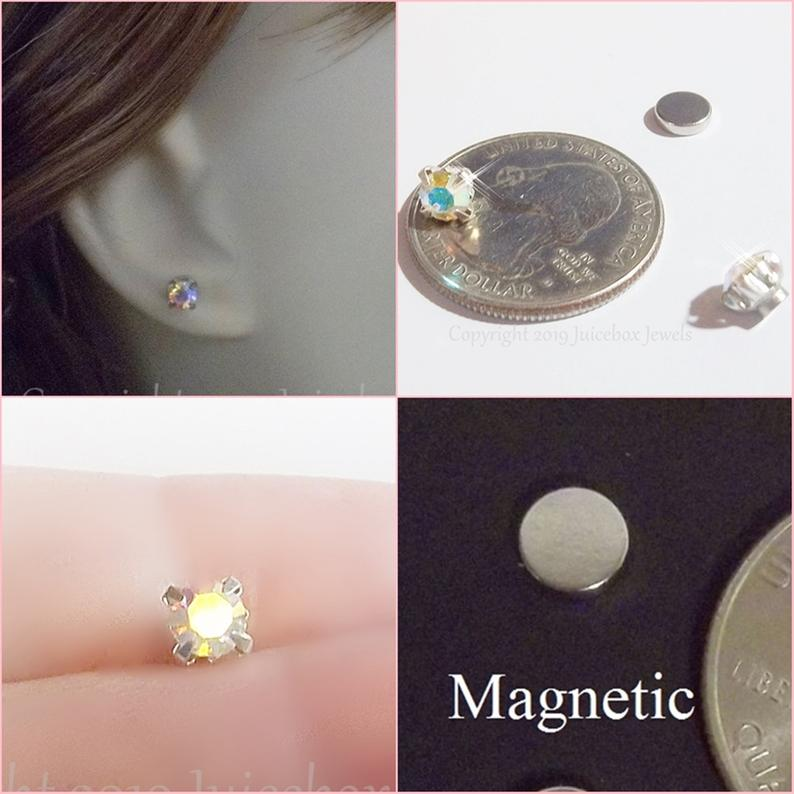MAGNETIC 5 mm AB/Iridescent Faceted Glass Crystal Rhinestone