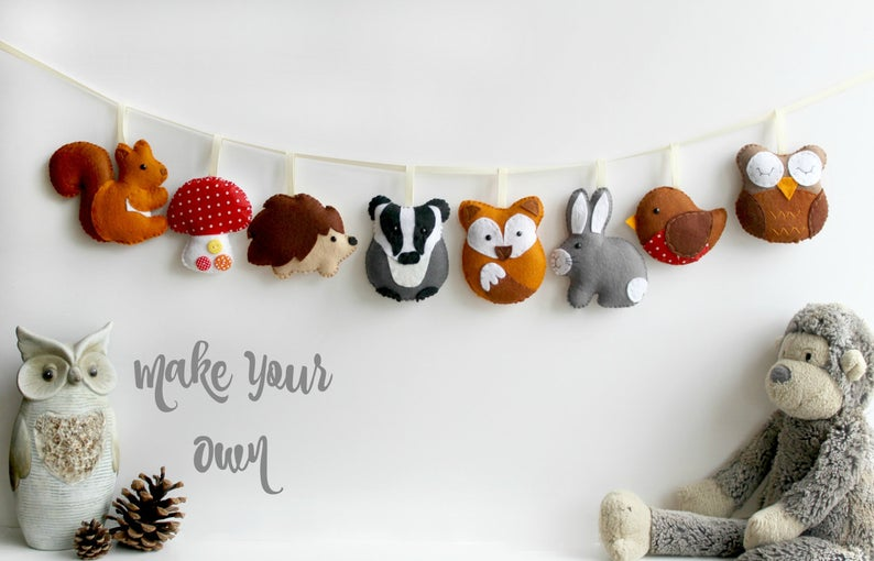 Make Your Own felt Woodland Garland Kit. Sewing pattern. DIY