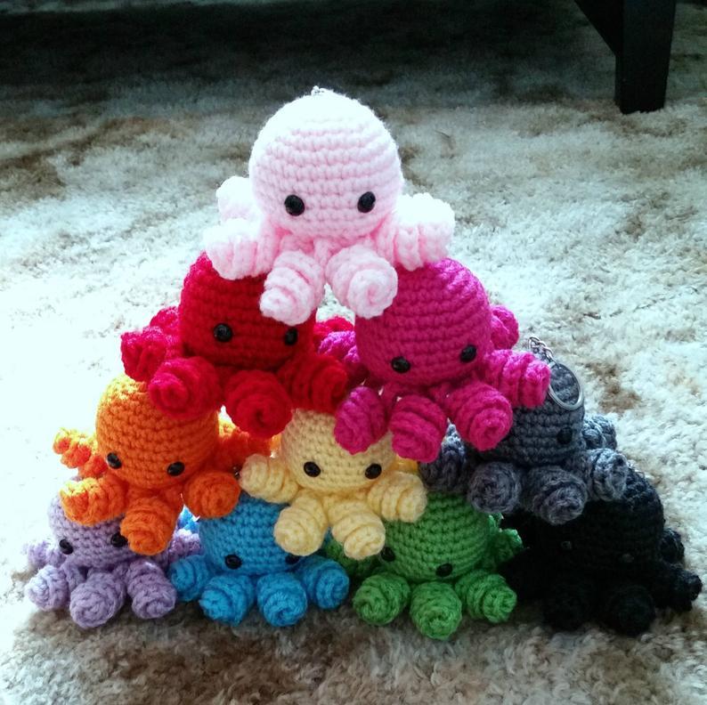 Mini Crochet Octopus Amigurumi Gift for Kids Octopus Plush