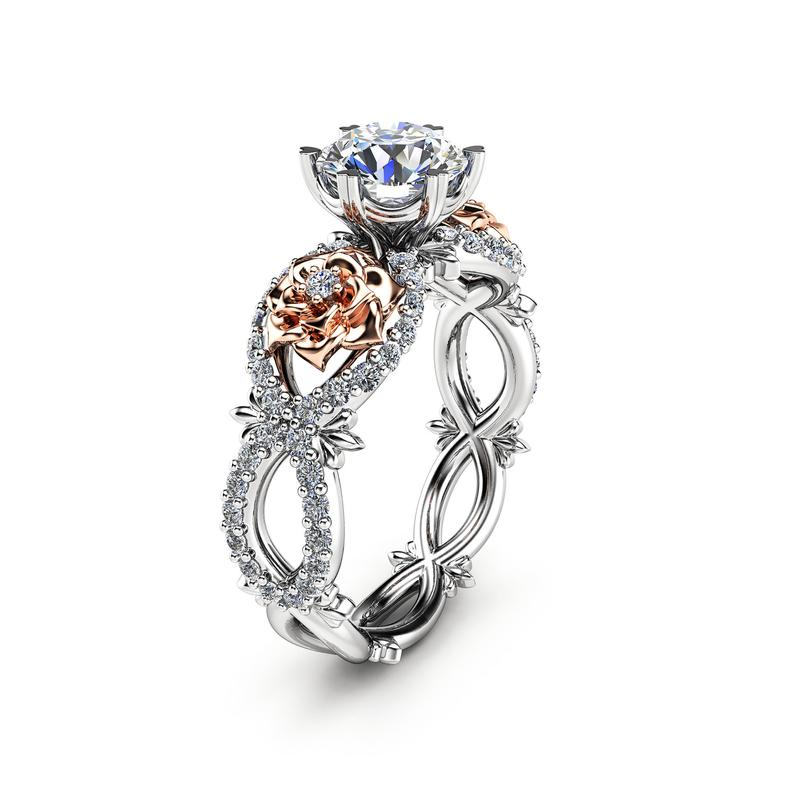 Moissanite Engagement Ring 14K Gold Unique Engagement Ring