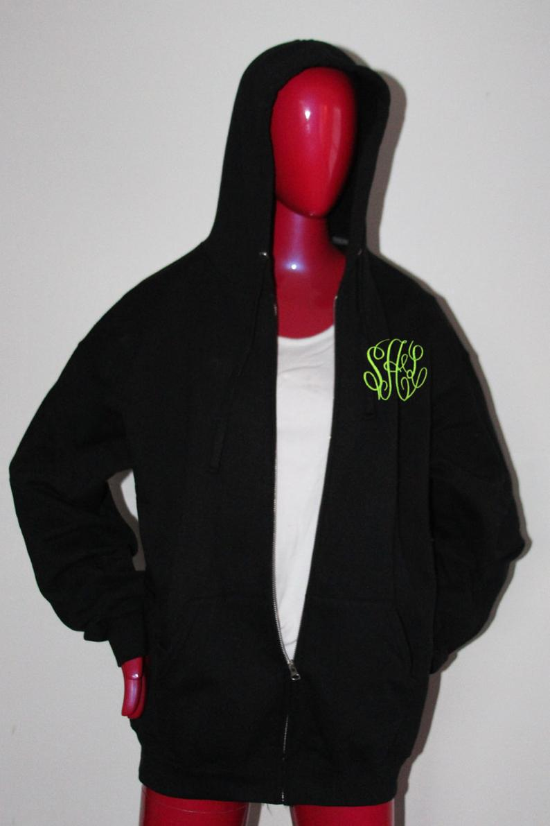 Monogram Jacket  Monogrammed Full Zip Jacket  Monogram Hood