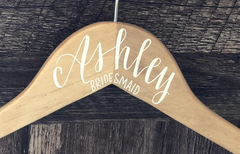 Natural Wood Wedding Hanger  Light Wood White Ink