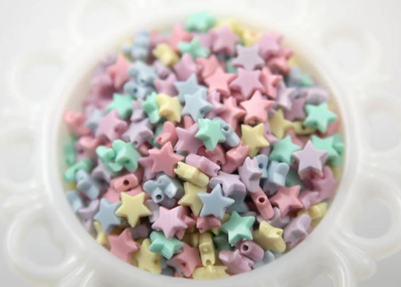 Pastel Star Beads  10mm Tiny Plastic Pastel Star Beads  200