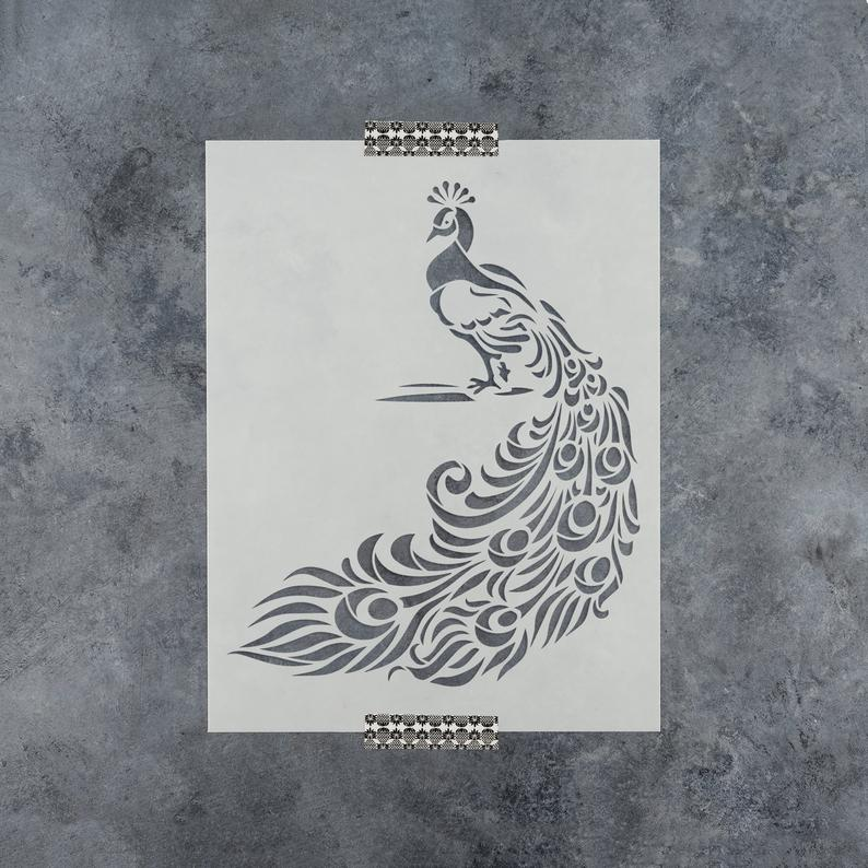 Peacock Stencil  Reusable DIY Craft Stencils of a Peacock
