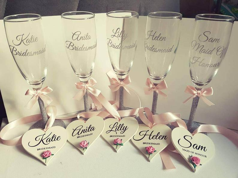 Personalised Champagne flutes top table bridesmaid gift