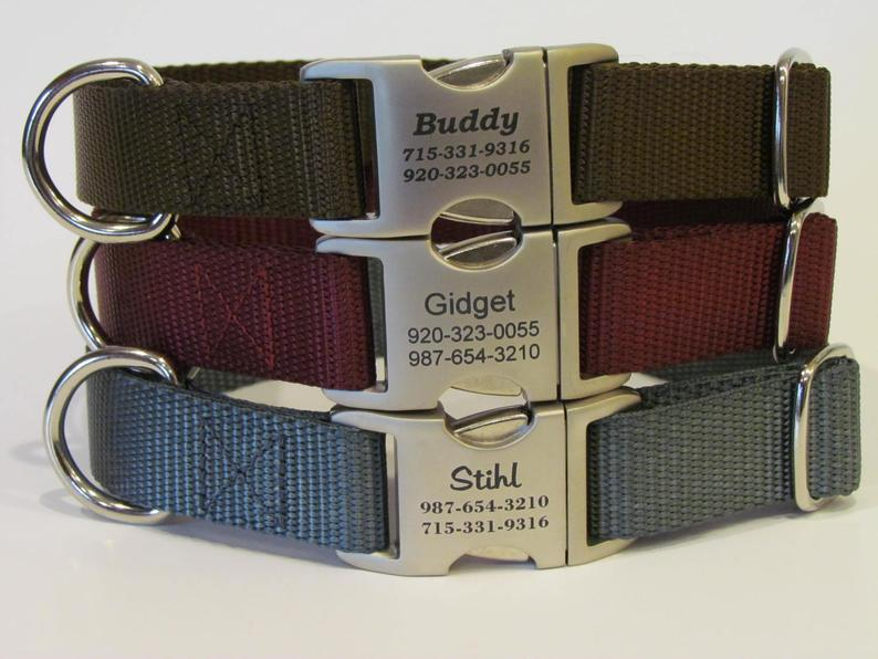 Personalized Dog Collar  All Metal Buckle Laser Engraved With