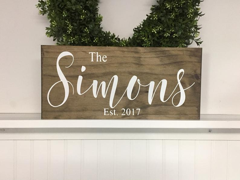 Personalized Wedding Gift idea for couple Last Name Sign