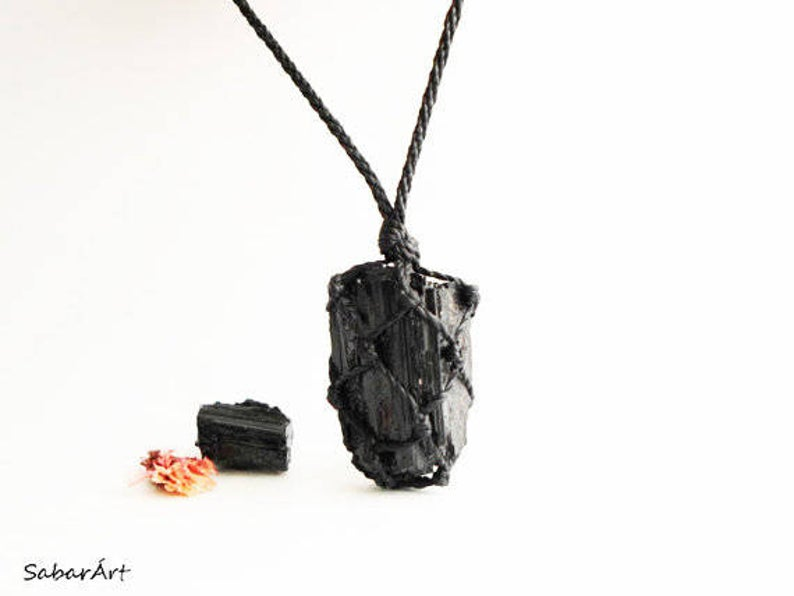 Raw tourmaline necklace raw black tourmaline necklace raw