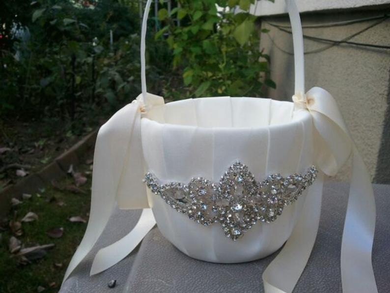 SALE  Wedding Flower Basket Flower Girl Basket Rhinestone
