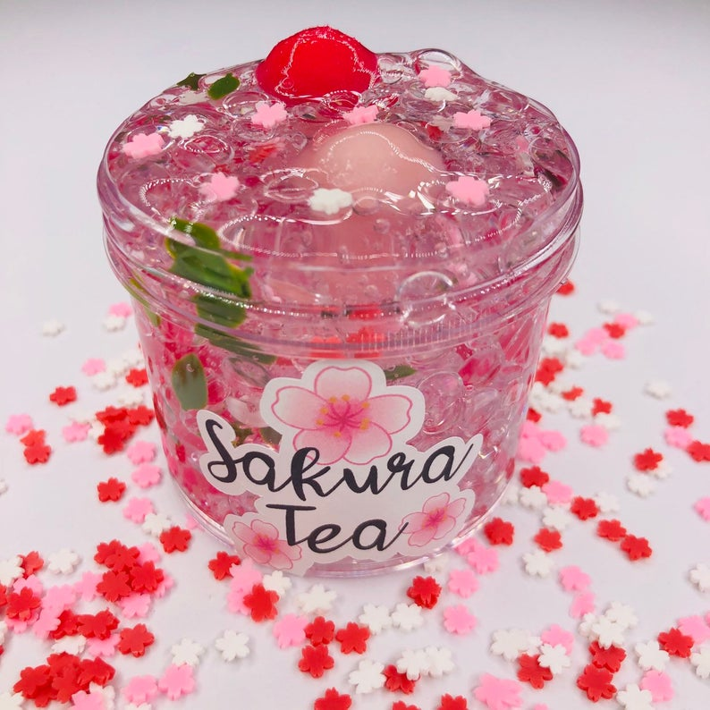 Sakura Tea Fishbowl Slime  Clear slime  fishbowl slime