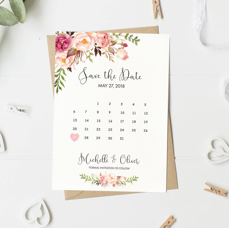 Save The Date Card Floral Calendar Save The Date