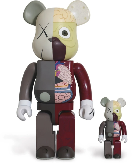 Sculpture Dissected Companion Bearbrick set Red 400% & 100% by KAWS