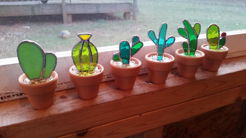 Set of 6 Stained glass cactus Great gift for the plant or