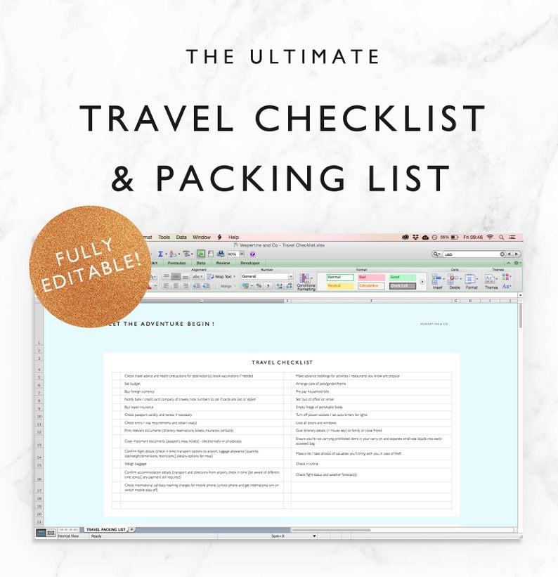 Travel Checklist & Travel Packing List  Travel Planning